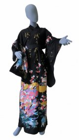 Ladies' Japanese Kimono -kinmoji yuzen- Black, Cotton, Medium / -yuzen- Princess