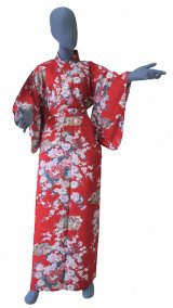 Ladies' Japanese Kimono -himebotan- Red, Cotton, Medium / Princess & peony