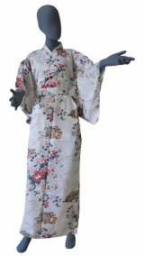 Ladies' Japanese Kimono -himebotan- White, Cotton, Medium / Princess & peony