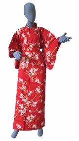 Ladies' Japanese Yukata -sakura chouchou- Red, Cotton, Large / Cherry blossoms & butterfly
