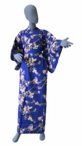 Ladies' Japanese Yukata -sakura chouchou- Blue, Cotton, Large / Cherry blossoms & butterfly