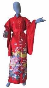 Ladies' Japanese Kimono -kinmoji yuzen- Red, Cotton, Medium / -yuzen- Princess