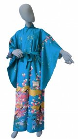 Ladies' Japanese Kimono -kinmoji yuzen- Tq blue, Cotton, Medium / -yuzen- Princess