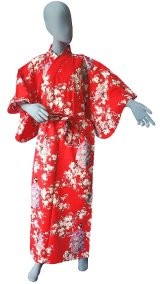 Small / Ladies' Japanese Kimono Robe -sakura maiko- Red, Cotton - SPECIAL DISCOUNT