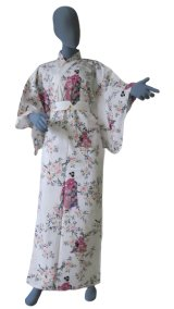 Small / Ladies' Japanese Kimono Robe -sakura maiko- White, Cotton - SPECIAL DISCOUNT