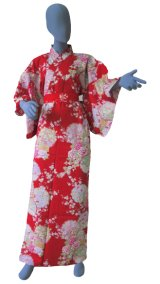 Ladies' Japanese Kimono -shiki no hana- Red, Cotton, Medium / Colorful circles