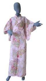 Ladies' Japanese Kimono -shiki no hana- Pink, Cotton, Medium / Colorful circles