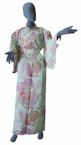 Ladies' Japanese Kimono -shiki no hana- Green, Cotton, Medium / Colorful circles