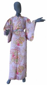 Ladies' Japanese Kimono -shiki no hana- Purple, Cotton, Medium / Colorful circles