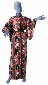 Ladies' Japanese Kimono -shima rangiku- Black, Cotton, Medium / Chrysanth blooming