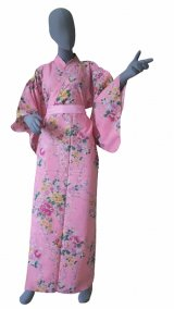 Medium / Ladies' Japanese Kimono Robe -botanran- Pink, Cotton - SPECIAL DISCOUNT