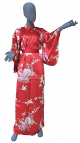 Medium / Ladies' Japanese Kimono Robe -tsurubotan- Red, Silk - SPECIAL DISCOUNT