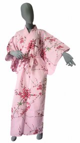 Ladies' Japanese Kimono -ume uguisu- Pink, Cotton, Medium / Plum & bush warbler