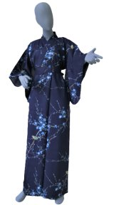 Ladies' Japanese Kimono -ume uguisu- Navy, Cotton, Medium / Plum & bush warbler