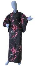 Small / Ladies' Japanese Kimono Robe -ume uguisu- Black, Cotton - SPECIAL DISCOUNT
