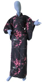 Ladies' Japanese Kimono -ume uguisu- Black, Cotton, Medium / Plum & bush warbler