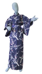 Ladies' Japanese Yukata -ume- Navy, Cotton, Large / Pink plum & bush warbler