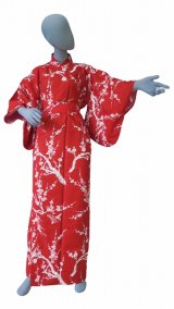 Ladies' Japanese Yukata -ume- Red, Cotton, Large / Pink plum & bush warbler