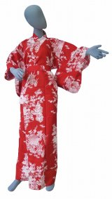 Ladies' Japanese Yukata -botan tachisugata- Red, Cotton, Xlarge / Peony & beauty