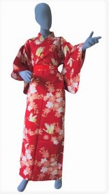 Ladies' Japanese Yukata -sakura tsuru- Red, Cotton, Large / Cherry blossom and crane