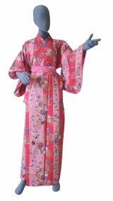 Ladies' Japanese Yukata -shima tachisugata- Pink, Cotton, Medium / -geisya- Beauty on stripe