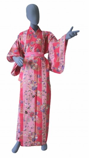 Photo1: Ladies' Japanese Yukata -shima tachisugata- Pink, Cotton, Large / -geisya- Beauty on stripe