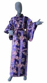 Ladies' Japanese Yukata -shima tachisugata- Purple, Cotton, Large / -geisya- Beauty on stripe