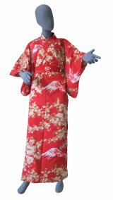 Ladies' Japanese Yukata -sakura fuji- Red, Cotton, Large / -sakura on Mt.fuji-