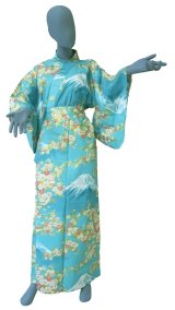 Ladies' Japanese Yukata -sakura fuji- Green, Cotton, Large / -sakura on Mt.fuji-