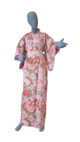 Medium / Ladies' Japanese Yukata -botan temari- Pink, Cotton - SPECIAL DISCOUNT