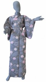 Ladies' Japanese Yukata -sakura komon- Black, Cotton, Large / -sakura- on Cloud pattern
