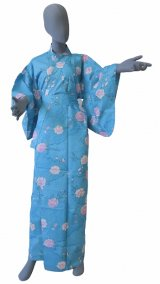 Ladies' Japanese Yukata -sakura komon- Tq blue, Cotton, Medium / -sakura- on Cloud pattern