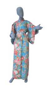 Small / Ladies' Japanese Yukata -botan temari- Tq blue, Cotton - SPECIAL DISCOUNT