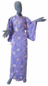 Ladies' Japanese Yukata -sakura komon- Purple, Cotton, Large / -sakura- on Cloud pattern
