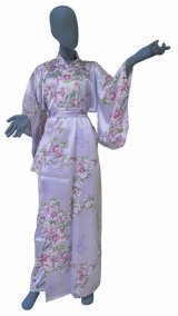 Medium / Ladies' Japanese Kimono Robe -sakuramoji- Purple, Silk - SPECIAL DISCOUNT