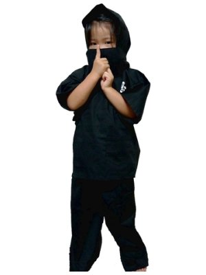 Photo1: Kid's Xlarge / Japanese Jinbei -ninja suit- Black, Cotton - SPECIAL DISCOUNT