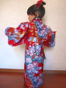 Other Images2: Girl's Japanese Kimono -umetsuru- Pink, Polyester, 35in / Japanese plum & crane