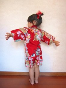 Other Images1: Girl's Japanese Jinbei -bokashi ningyou- Red, Cotton, 2Xlarge / Doll in flower
