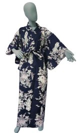 Ladies' Japanese Yukata -botan tachisugata- Navy, Cotton, Small / Peony & beauty