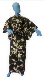 Ladies' Japanese Yukata -sakura chouchou- Black, Cotton, Medium / Cherry blossoms & butterfly