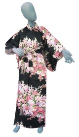 Ladies' Japanese Kimono -fujiume- Black, Cotton, Medium / Thousand various flowers