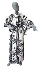 Ladies' Japanese Yukata -futotake- White, Cotton, Xlarge / Bamboo