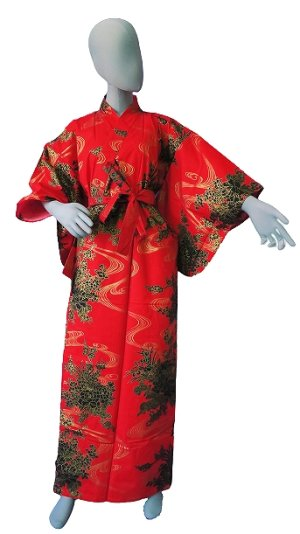 Photo1: Ladies' Japanese Yukata -hana ryusui- Red, Cotton, Small / Flowers on the flowing water