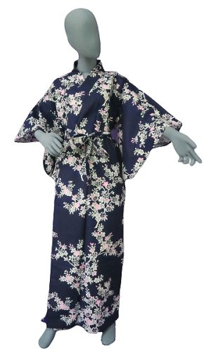 Photo1: Ladies' Japanese Yukata -sakura- Navy, Cotton, Small / Japanese cherry blossoms