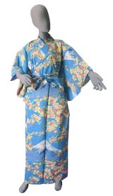 Ladies' Japanese Yukata -sakura fuji- Blue, Cotton, Large / -sakura on Mt.fuji-