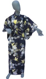 Ladies' Japanese Yukata -sakura tsuru- Navy, Cotton, Large / Cherry blossom and crane