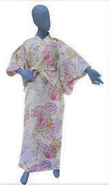 Ladies' Japanese Kimono -shiki no hana- White, Cotton, Medium / Colorful circles