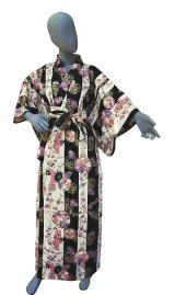 Ladies' Japanese Yukata -shima tachisugata- Navy, Cotton, Large / -geisya- Beauty on stripe