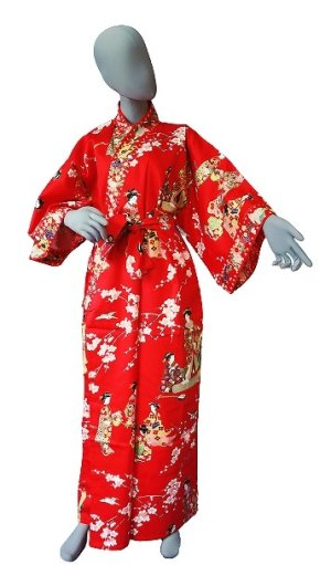 Photo1: Ladies' Japanese Kimono -tachisugata- Red, Cotton, Medium / Kimono Ladies