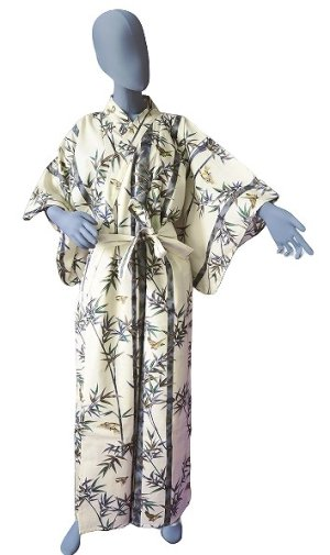 Photo1: Ladies' Japanese Kimono -takesuzume- White, Cotton, Medium / Bamboo & sparrow